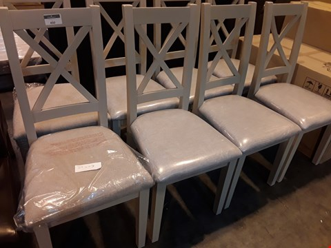 Lot 450 SET OF 4 DESIGNER GREY X BACK DINING CHAIRS NATURAL FABRIC SEATS