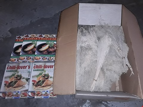 Lot 3139 PALLET OF ASSORTED ITEMS TO INCLUDE CHILLI LOVERS COOKBOOK,A TASTE OF INDIA BOOK AND GYPSOFILA