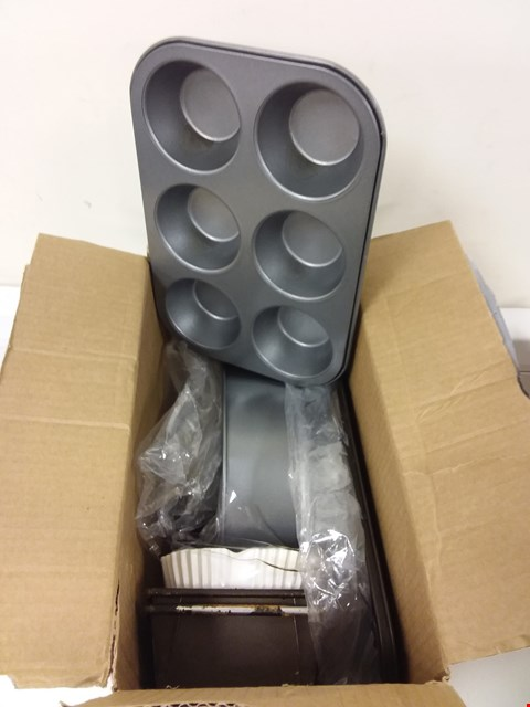 Lot 808 LOT OF 2 ASSORTED HOUSEHOLD ITEMS TO INCLUDE BOX OF COAT HANGERS AND BOX OF ASSORTED BAKING ITEMS