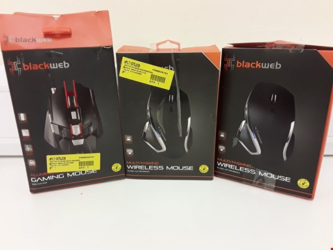 Lot 331 THREE BOXED ASSORTED BLACKWEB MOUSES, 2 × WIRELESS & WIRED GAMING.