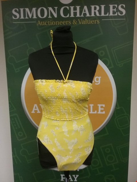 Lot 872 BRAND NEW V BY VERY SHIRRED HIGH LEG SWIMSUIT - YELLOW/FLORAL SIZE 8