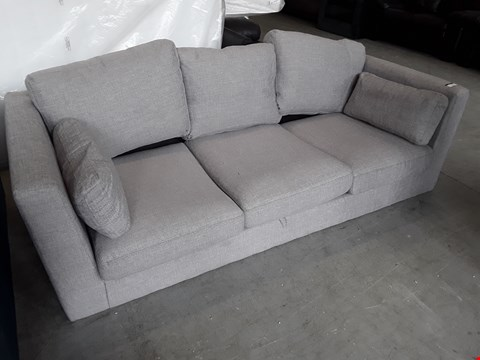 Lot 325 DESIGNER GREY FABRIC THREE SEATER SOFA WITH BOLSTER CUSHIONS
