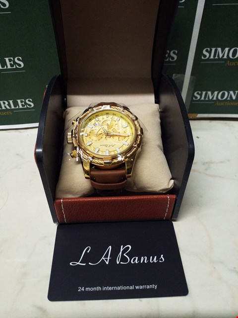 Lot 4581 L. A BANUS GOLD EFFECT WIRE CASE CHRONOGRAPH WATCH WITH BROWN LEATHER WRIST STRAP
