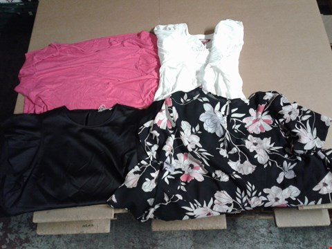 Lot 9310 BOX OF 57 WOMEN'S CLOTHING ITEMS TO INCLUDE JB BLOUSE - WHITE, COWL V-BACK TOP PINK, ASYMTRIC TOP - BLACK FLORAL AND FRILL SLEEVE TOP - BLACK