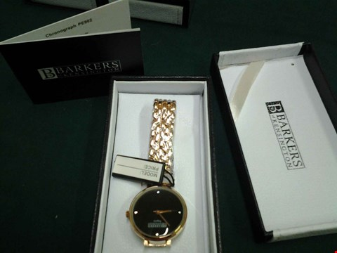 Lot 1072 BRAND NEW BOXED BARKERS OF KENSINGTON LADIES BLACK REGATTA WRISTWATCH RRP £315