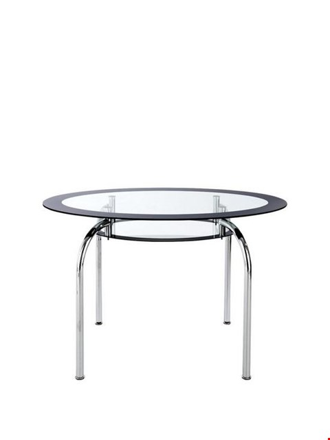 Lot 7 BOXED DESIGNER BLACK VAREZZE GLASS DINING TABLE (1 BOX) RRP £459
