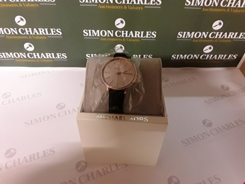 Lot 62 MICHAEL KORS PYPER SILVER SUNRAY AND ROSE GOLD DETAIL MINI DIAL BLACK LEATHER STRAP LADIES WATCH RRP £139.00