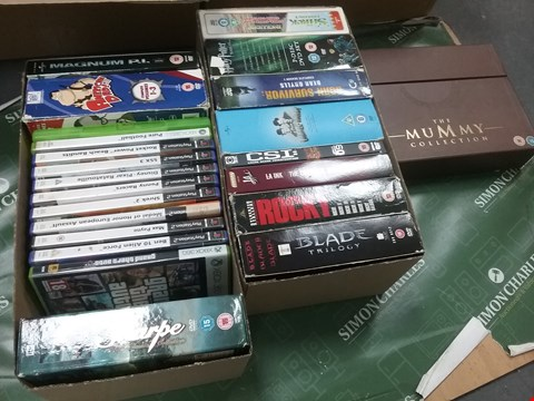 Lot 12013 A BOX OF APPROXIMATELY 21 ASSORTED DVD/BOXSETS/CONSOLE GAMES TO INCLUDE THE MUMMY COLLECTION AND A ROCKY BOXSET