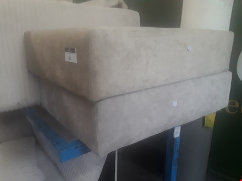 Lot 81 TWO BEIGE FABRIC RECTANGULAR FOOT STOOL BASES