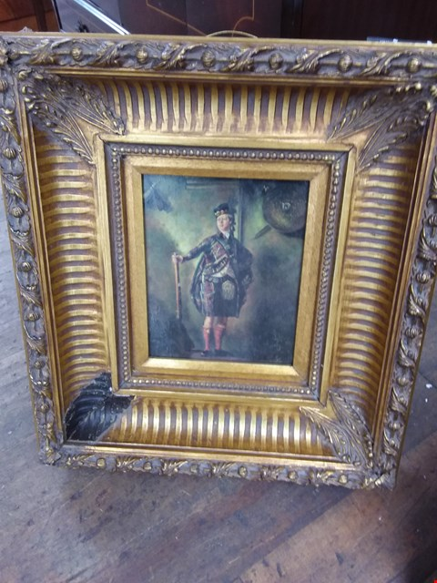Lot 11003 VINTAGE SCOTTISH HUNTER - PAINTING IN DECORATIVE GOLD PAINTED FRAME (APPROX 47X53CM)