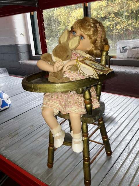 Lot 490 ALBERON DOLLS LULU FIGURINE ON WOODEN STOOL
