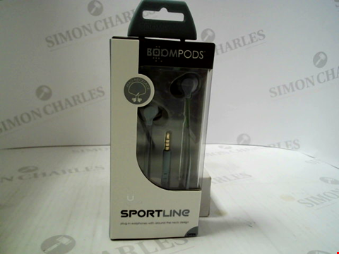 Lot 383 BRAND NEW BOOMPODS SPORTLINE PLUG-IN EARPHONES WITH ROUND THE NECK DESIGN