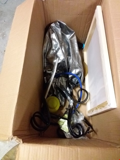 Lot 12810 BOX OF ASSORTED HOUSEHOLD ITEMS TO INCLUDE BAT CAKE TOPPERS, INFLATABLE EXERCISE BALL, WOODEN FRAME ETC