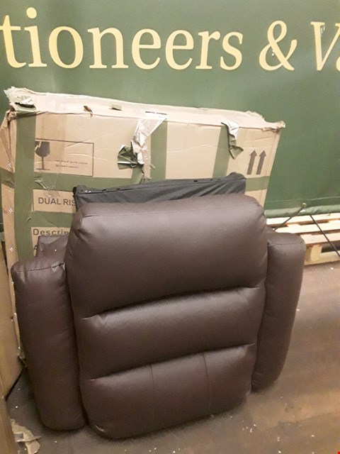 Lot 107 BOXED BROWN FAUX LEATHER DUAL RISE RECLINER ARMCHAIR BACK
