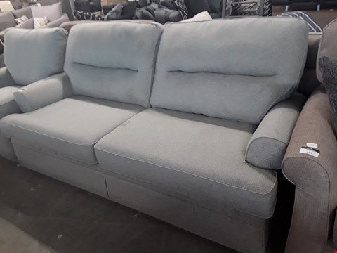 Lot 103 QUALITY BRITISH DESIGNER BERKELEY DUCK EGG BLUE FABRIC SPLIT BACK THREE SEATER SOFA