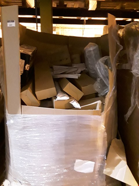 Lot 6009 PALLET OF ASSORTED ITEMS INCLUDING, BOXED PORCELAIN PLATES,CLARK & MAYFIELD HANDBAGS, GLASS BATHROOM SHELVES, VIDEO/AUDIO SWITCH.