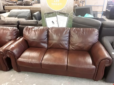 Lot 40 DESIGNER BROWN FAUX LEATHER 3 SEATER SOFA