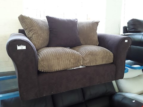 Lot 28 DESIGNER BROWN FABRIC & JUMBO CHORD TWO SEATER SOFA WITH SCATTER CUSHIONS