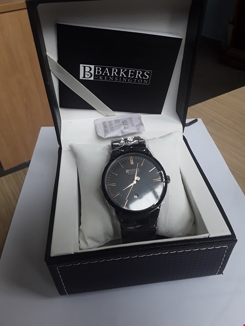 Lot 97 BRAND NEW BARKERS OF KENSINGTON GENTLEMANS BLACK METAL ENTOURAGE ROSE NUMERALS WRISTWATCH