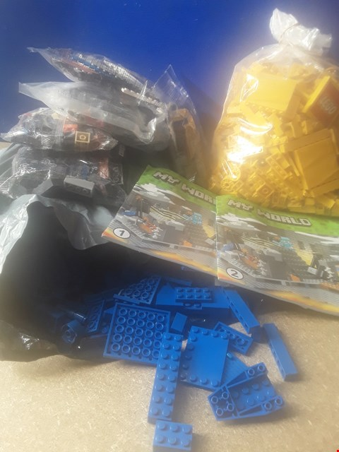Lot 5014 ASSORTED LEGO, INCLUDING BAG ON YELLOW BLOCKS, BAG OF BLUE BLOCKS AND BAGGED PARTS OF MY WORLD LEGO