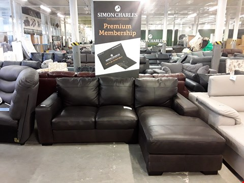 Lot 43 DESIGNER DARK BROWN FAUX LEATHER THREE SEATER CHAISE SOFA