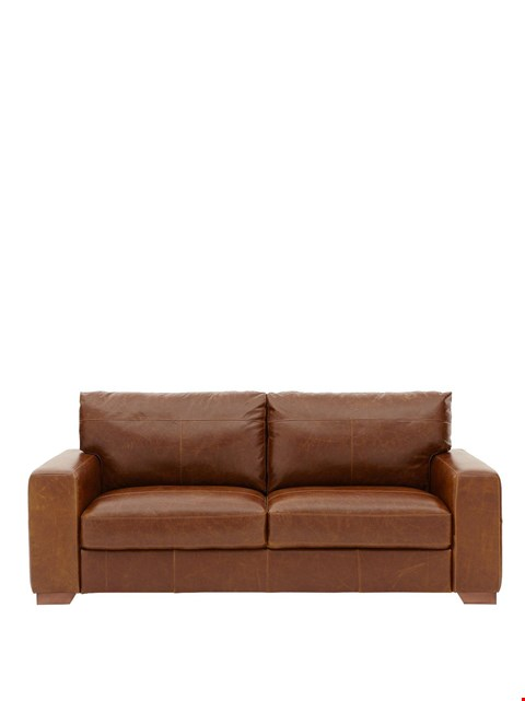 Lot 432 BRAND NEW DESIGNER HUNTINGTON TAN LEATHER 2 SEATER  SOFA  RRP £649