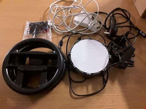 Lot 457 BOX OF APPROXIMATELY 7 ASSORTED ITEMS TO INCLUDE ACTIVISION PORTAL OF POWER, NINTENDO WII WHEEL CONTROLLER, PS EYE CAMERA