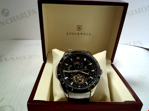 Lot 5639 DESIGNER STOCKWELL AUTOMATIC MOONPHASE DIAL STAINLESS STRAP WRISTWATCH RRP £650.00