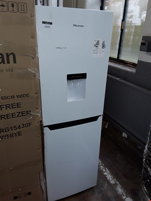 Lot 11037 HI-SENSE RB320D4WW1 50/50 FRIDGE FREEZER WITH WATER DISPENSER IN WHITE