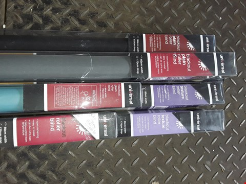 Lot 158 LOT OF 6 UNIVERSAL BLACKOUT ROLLER BLINDS IN VARIOUS COLOURS