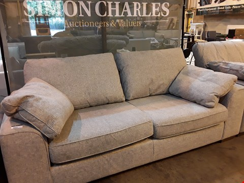 Lot 9002 QUALITY BRITISH DESIGNER NANTUCKET SILVER WEAVE THREE SEATER SOFA WITH BOLSTER CUSHIONS