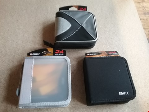 Lot 3011 10 BOXES OF APPROXIMATELY 60 BRAND NEW EMTEC 24 CD-DVD WALLETS (30xBLACK / 24xWHITE / 6xGREY)
