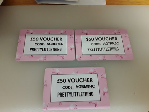 Lot 56 3 PRETTY LITTLE THING GIFT VOUCHER TATAL VALUE £100 AND €50