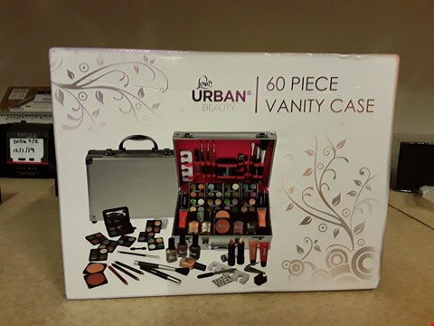 Lot 2057 BOXED URBAN BEAUTY 60 PIECE VANITY CASE CONTAINS EYESHADOW, NAIL POLISH, BLUSH, LIPSTICK, MASCARA AND NAIL STICKER SELECTION ECT