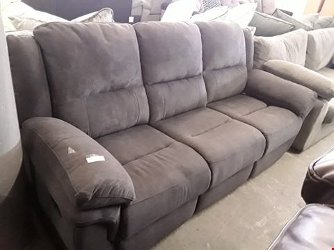 Lot 98 DESIGNER ALBION GREY FABRIC MANUAL RECLINING THREE SEATER SOFA