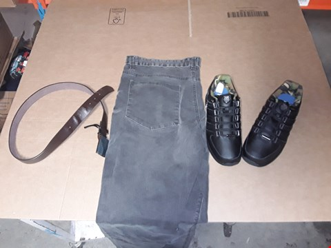 Lot 9410 4 BOXES OF APPROXIMATELY 103 ASSORTED CLOTHING AND FOOTWEAR ITEMS INCLUDING GREY RIPPED SKINNY JEANS, LEATHER EFFECT BELT AND BLACK RINZLER SHOES