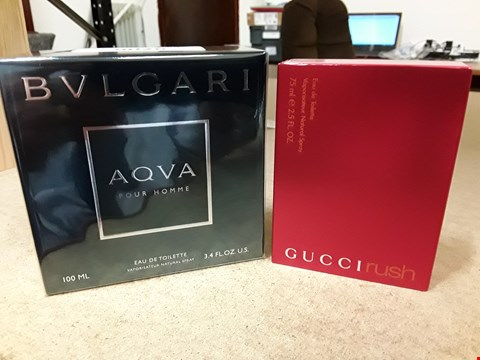 Lot 9026 TWO ITEMS, BVLGARI AQUA POUR HOMME EAU DE TOILETTE 100ML & GUCVI RUSH NATURAL SPRAY 75ML