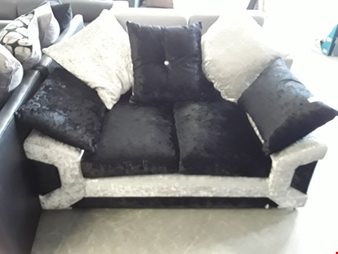 Lot 100 DESIGNER TWO TONE BLACK AND SILVER CRUSHED VELVET 2 SEATER SOFA