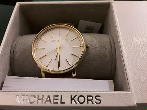 Lot 407 MICHAEL KORS PYER GOLD TONE RED LEATHER EFFECT STRAP WATCH RRP £179