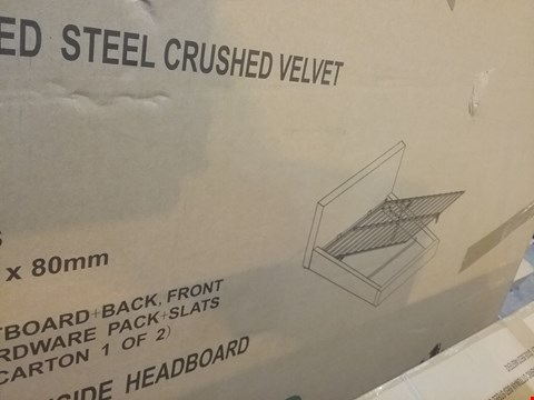 Lot 553 BOXED 135CM BERLIN FABRIC OTTOMAN BED STEEL CRUSHED VELVET ( 2BOXES )