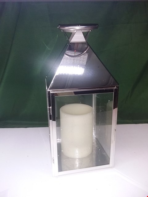 Lot 1381 ALISON CORK STAINLESS STEEL LANTERN WITH LED CANDLE