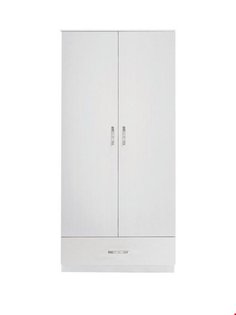 Lot 464 BOXED WHITE PERU 2 DOOR 1 DRAWER WARDROBE (2 BOXES) RRP £169
