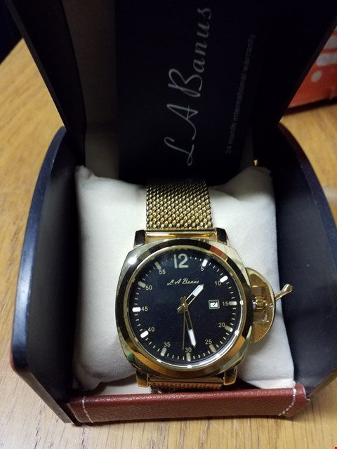Lot 101 LA BANUS CROWN GUARD WRIST WATCH WITH BLACK DIAL & MESH BRACELET - GOLD