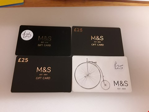 Lot 26 4 ASSORTED M&S GIFT CARDS TOTAL VALUE £100