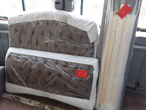 "Lot 2167 LACHELLE 4'6"" LUXURY UPHOLSTERED BED FRAME - BROWN  (4 PACKETS)"