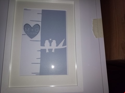 Lot 4282 PERSONALISED GREY LOVE BIRDS A4 FRAMED  RRP £24.99