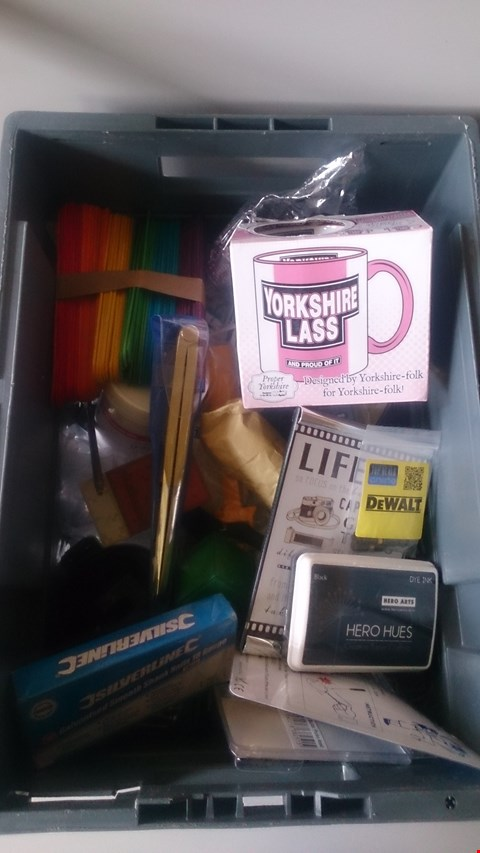 Lot 5613 LOT OF ASSORTED ITEMS TO INCLUDE YORKSHIRE LASS MUG, PICTURE FRAME AND SILVERLINE SMOOTH SHANK NAILS ETC