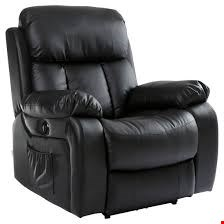 Lot 95 DESIGNER BOXED CHESTER BLACK LEATHER POWER RECLINING ARMCHAIR