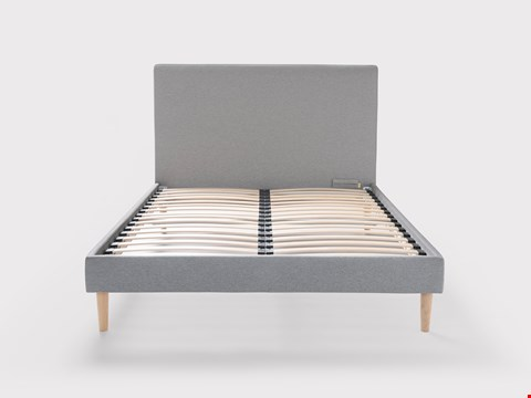 "Lot 72 BRAND NEW ""EVE"" GREY UPHOLSTERED BEDFRAME SIZE 150X190 WITH WOODEN LEGS WITH HEADBOARD RRP £729.00"