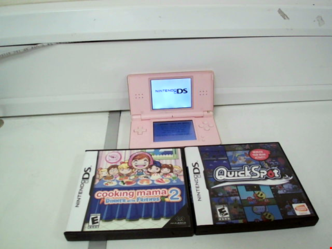 Lot 8109 NINTENDO DSI IN PINK WITH 3 GAMES TO INCLUDE COOKING MAMA 2, QUICK SPORT AND TURBO